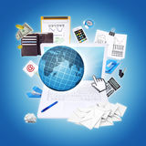 Laptop and office items. The concept of digital buisness office Royalty Free Stock Images