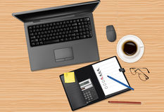 Laptop and office supplies. Laptop and office supplies laying on the brown board. Vector Royalty Free Stock Photo