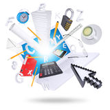 Laptop and office supplies Stock Images