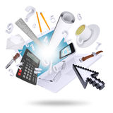 Laptop and office supplies Royalty Free Stock Image