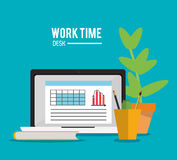 Laptop office work time supply icon, vector Royalty Free Stock Images