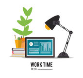 Laptop office work time supply icon, vector Stock Images