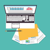 Laptop office work time supply icon, vector Stock Photography