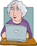 Laptop. Older woman happily using laptop royalty free illustration