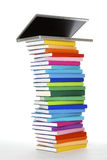 Laptop On Book Stack, Side View Stock Photo