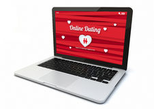 Laptop online dating. Render of a 3d generated computer with online dating on the screen. Screen graphics are made up Royalty Free Stock Images