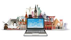 Laptop online flight booking with world landmark Stock Photography