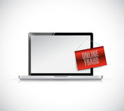 Laptop online fraud sign banner illustration Stock Photography