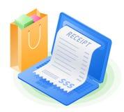 Laptop, online kwitu rachunek, torba na zakupy Wektor isometric ilustracja wektor