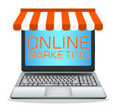 Laptop with online marketing store Stock Photography