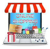 Laptop with online marketing store Stock Photos