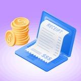 Laptop, online ontvangstbewijsrekening, stapel dollars Stock Foto's