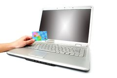 Laptop online purchase. Online purchase with a credit card Royalty Free Stock Photography