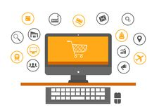 Laptop online shopping and logistics icons, shipping icons Stock Images
