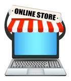 Laptop with online store banner Stock Photography