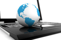 Laptop online with the world Stock Photography