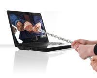 Laptop oorlog royalty-vrije stock afbeeldingen