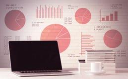 Laptop op bureau met verkoopcirkeldiagrammen Stock Afbeeldingen