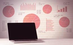 Laptop op bureau met verkoopcirkeldiagrammen Royalty-vrije Stock Afbeeldingen