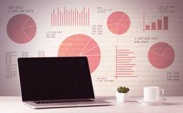 Laptop op bureau met verkoopcirkeldiagrammen Royalty-vrije Stock Foto's