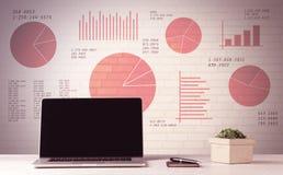Laptop op bureau met verkoopcirkeldiagrammen Stock Afbeelding