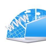Laptop op de abstracte achtergrond Stock Afbeeldingen
