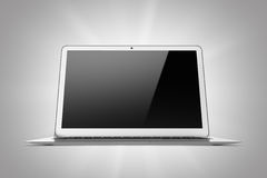 Laptop op een grijze achtergrond wordt geïsoleerd die Stock Afbeeldingen