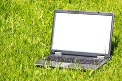 Laptop op het gras royalty-vrije stock afbeeldingen