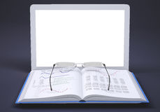 Laptop with open book and glasses Stock Image