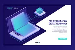 Laptop with open book, learning online education concept, electron library, information searching isometric. Vector royalty free illustration