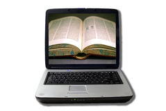 Laptop with open book on screen. Isolated laptop with open book on screen Stock Photos