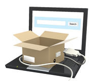Laptop and open box Stock Image