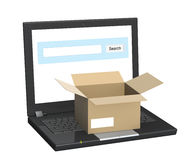 Laptop and open box Royalty Free Stock Photos