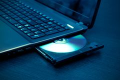 Laptop with open CD - DVD drive. Stock Image