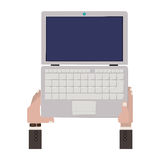 Laptop open with hands and watch. Vector illustration Royalty Free Stock Photo