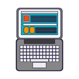 Laptop open with website. Vector illustration graphic design royalty free illustration