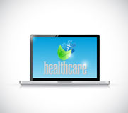 Laptop and organic healthcare sign illustration Royalty Free Stock Photos