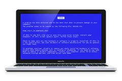 Laptop with OS blue critical error screen. Business laptop or office notebook computer PC with OS critical error message on blue screen isolated on white Stock Photo