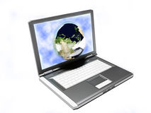 Laptop and our Earth, internet Royalty Free Stock Photo