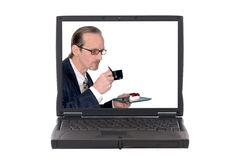 Laptop, out for lunch Royalty Free Stock Photo