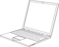 Laptop outline vector illustration Royalty Free Stock Photography