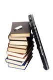 Laptop over books stack Stock Photos