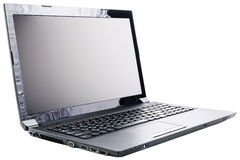 Laptop over white Stock Photography