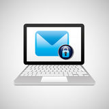 Laptop padlock email data secure. Vector illustration eps 10 Royalty Free Stock Photography