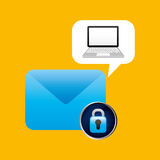 Laptop padlock email data secure. Vector illustration eps 10 Royalty Free Stock Images