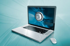 A laptop with a padlock Royalty Free Stock Photography