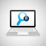 Laptop padlock search data secure Stock Image