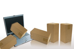 Laptop and parcel. E-commerce you can purchase product with laptop royalty free illustration