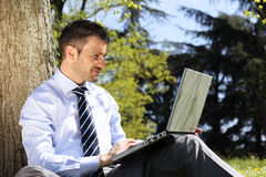 Laptop in a park Stock Photos