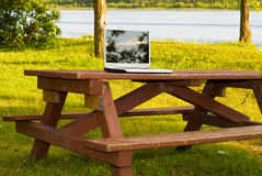 Laptop In The Park Royalty Free Stock Photography